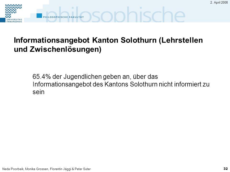 2. April 2008 Informationsangebot Kanton Solothurn (Lehrstellen und Zwischenlösungen)