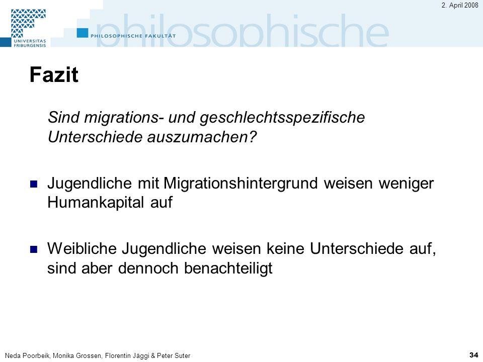 2. April 2008 Fazit. Sind migrations- und geschlechtsspezifische Unterschiede auszumachen