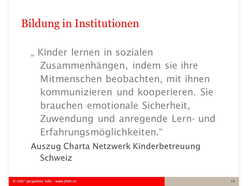 Bildung in Institutionen