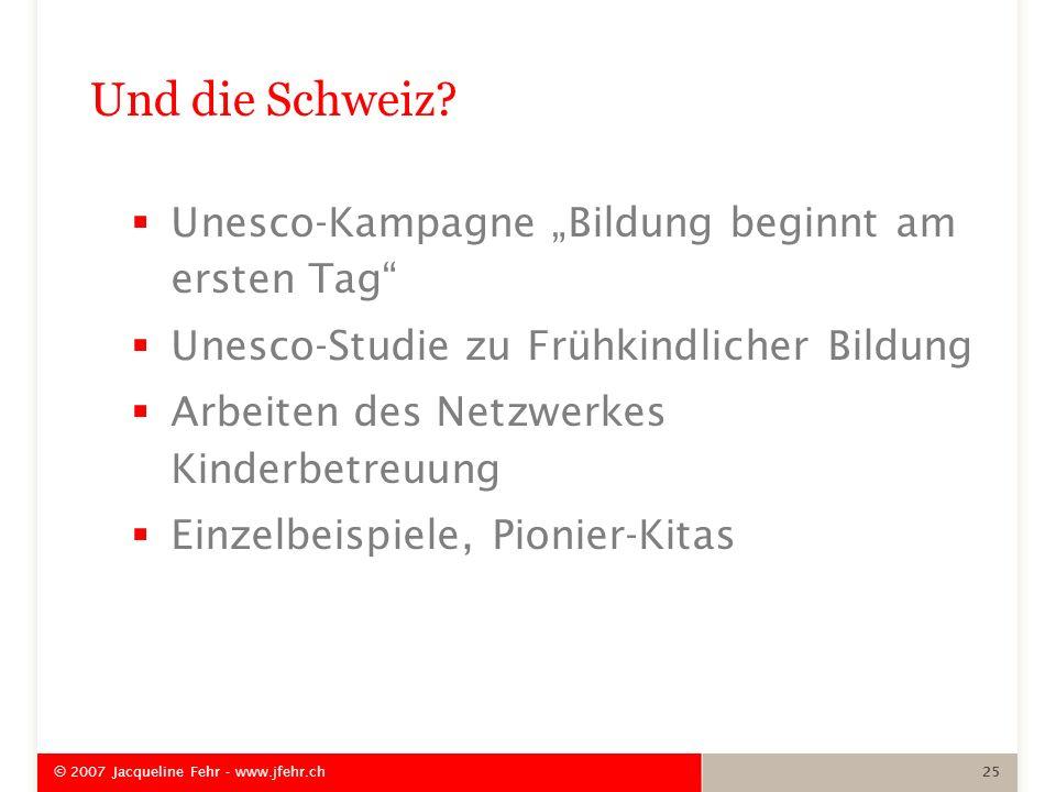 """Und die Schweiz Unesco-Kampagne """"Bildung beginnt am ersten Tag"""
