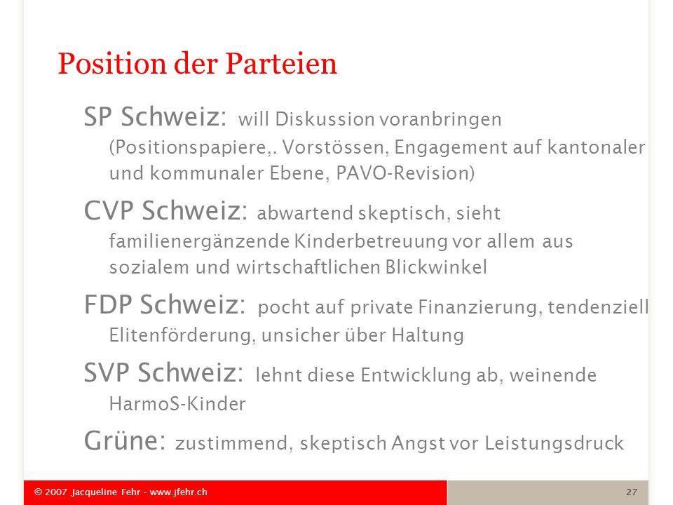 Position der Parteien