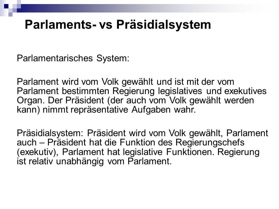 Parlaments- vs Präsidialsystem