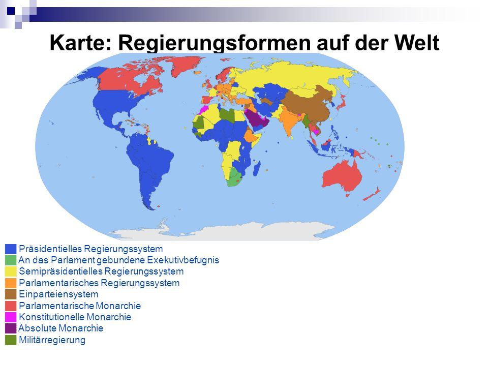 Karte: Regierungsformen auf der Welt