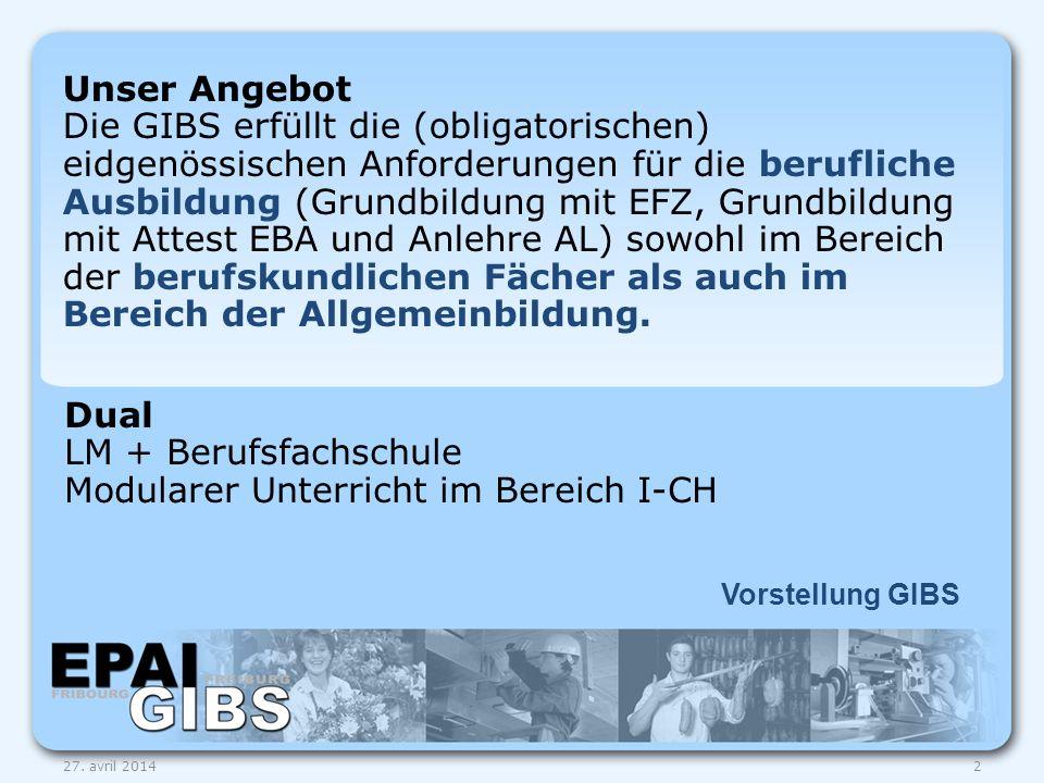 Dual LM + Berufsfachschule Modularer Unterricht im Bereich I-CH