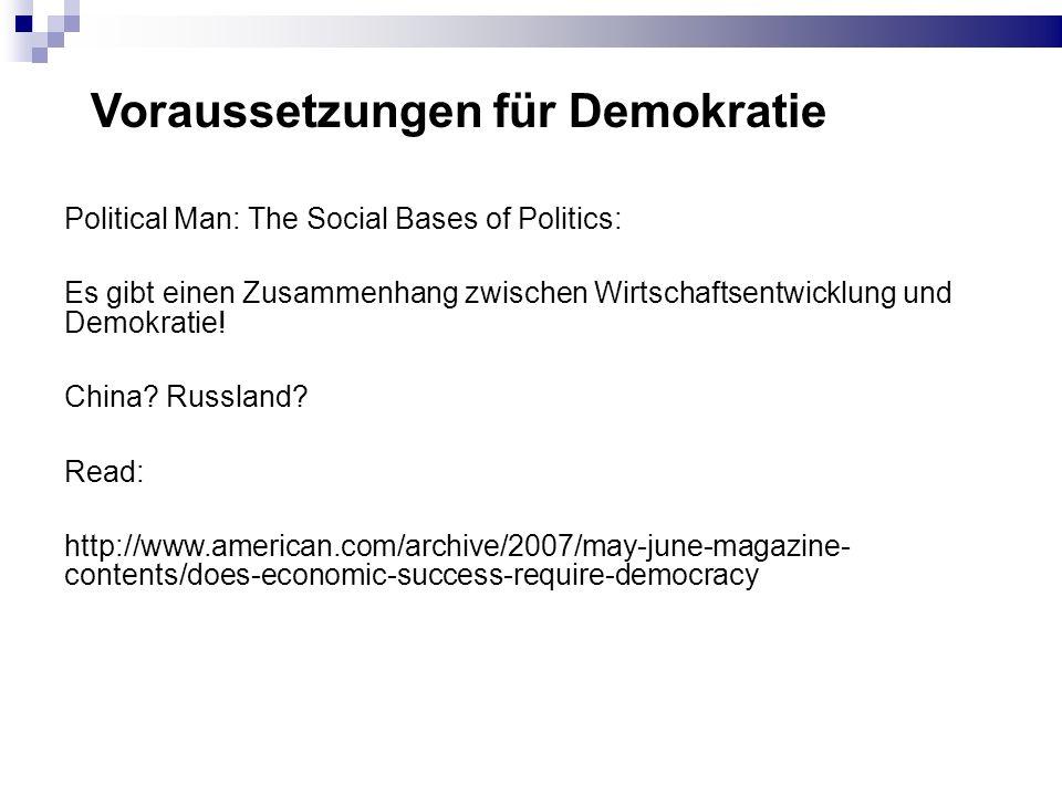 Voraussetzungen für Demokratie