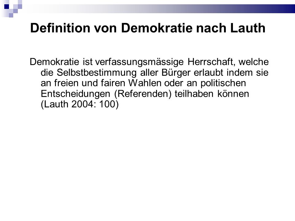 Definition von Demokratie nach Lauth