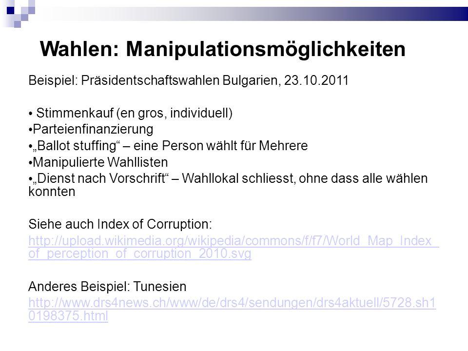 Wahlen: Manipulationsmöglichkeiten