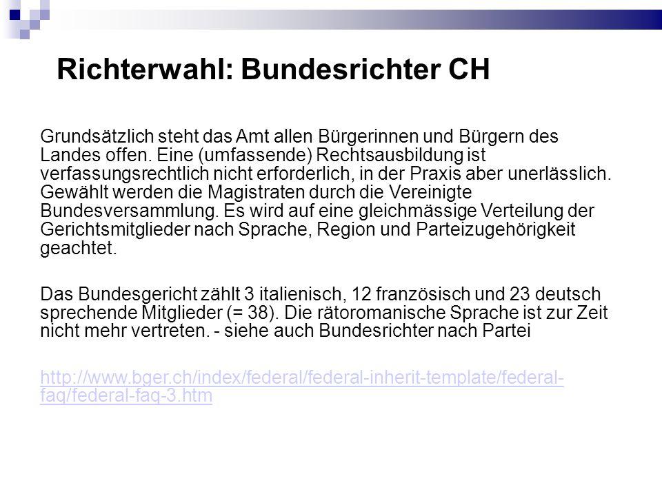 Richterwahl: Bundesrichter CH