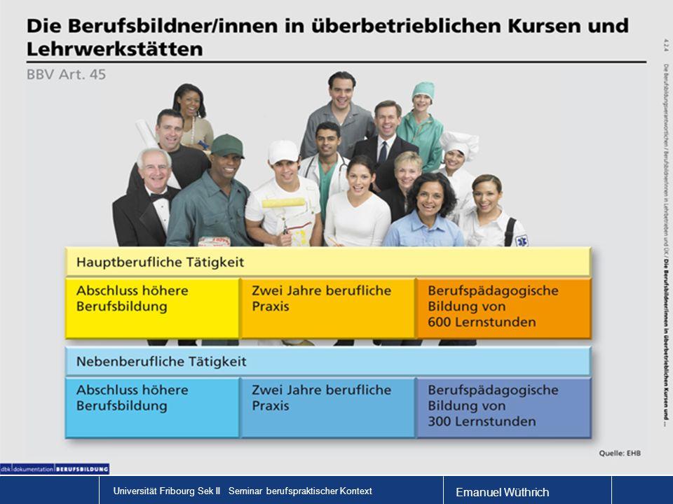 Universität Fribourg Sek II Seminar berufspraktischer Kontext