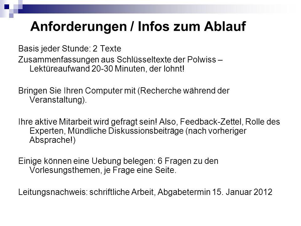 Anforderungen / Infos zum Ablauf