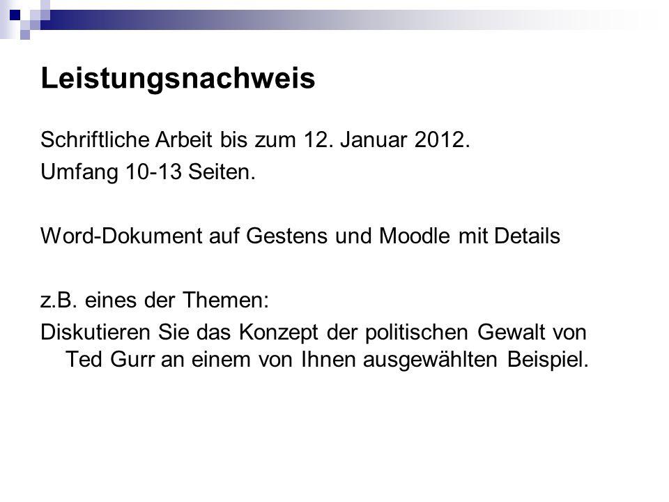 Leistungsnachweis Schriftliche Arbeit bis zum 12. Januar 2012.