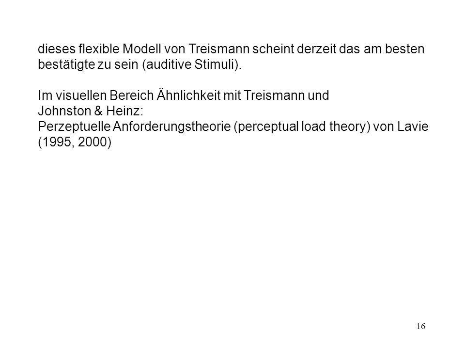 dieses flexible Modell von Treismann scheint derzeit das am besten bestätigte zu sein (auditive Stimuli).