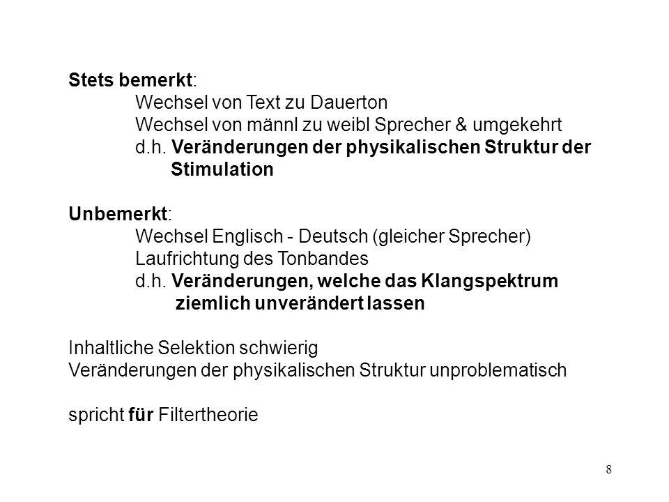Stets bemerkt: Wechsel von Text zu Dauerton. Wechsel von männl zu weibl Sprecher & umgekehrt. d.h. Veränderungen der physikalischen Struktur der.