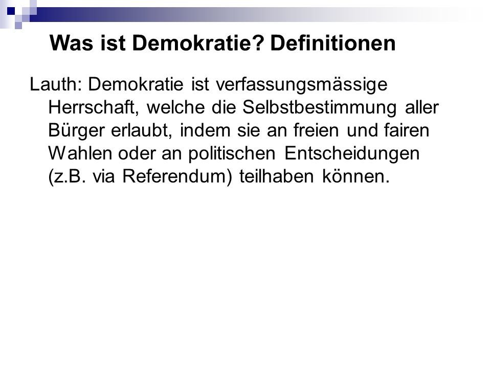Was ist Demokratie Definitionen