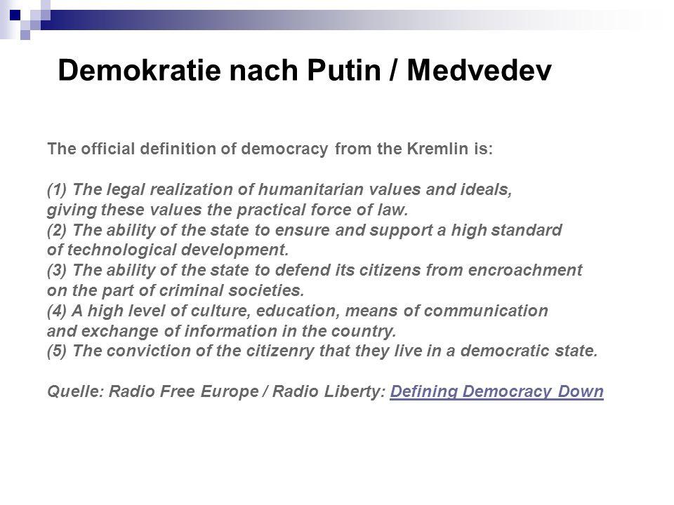 Demokratie nach Putin / Medvedev