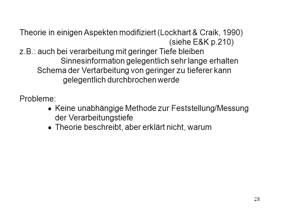 Theorie in einigen Aspekten modifiziert (Lockhart & Craik, 1990) (siehe E&K p.210)