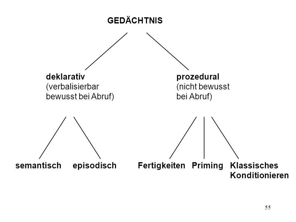 deklarativ (verbalisierbar bewusst bei Abruf) prozedural. (nicht bewusst bei Abruf) semantisch. episodisch.