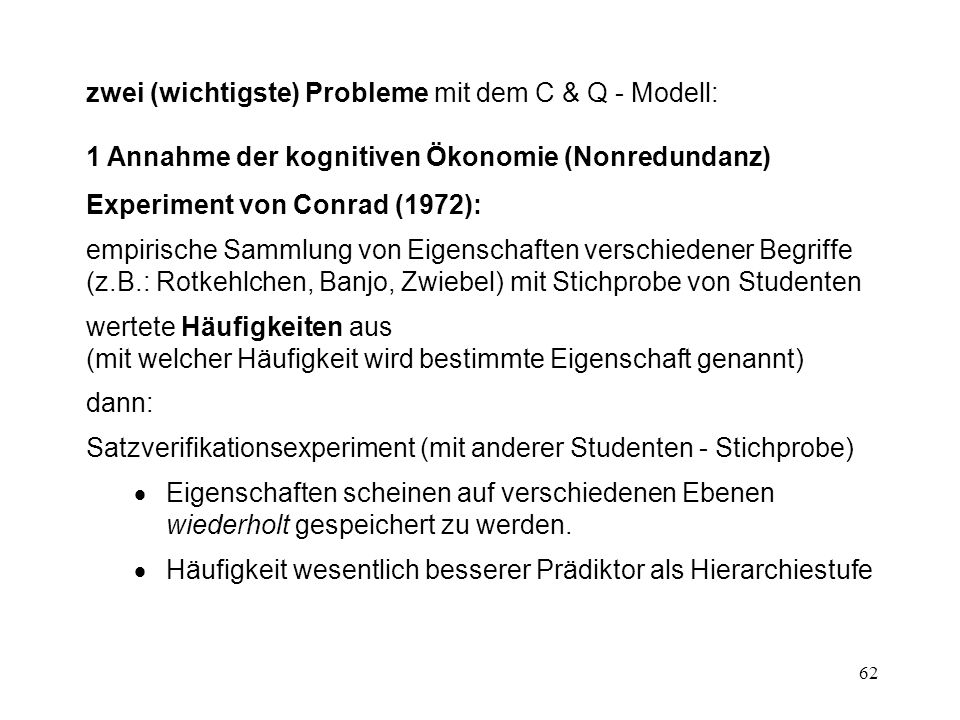 zwei (wichtigste) Probleme mit dem C & Q - Modell: