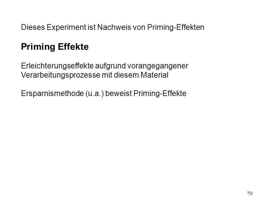 Priming Effekte Dieses Experiment ist Nachweis von Priming-Effekten