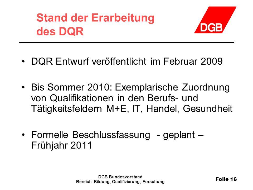 Stand der Erarbeitung des DQR