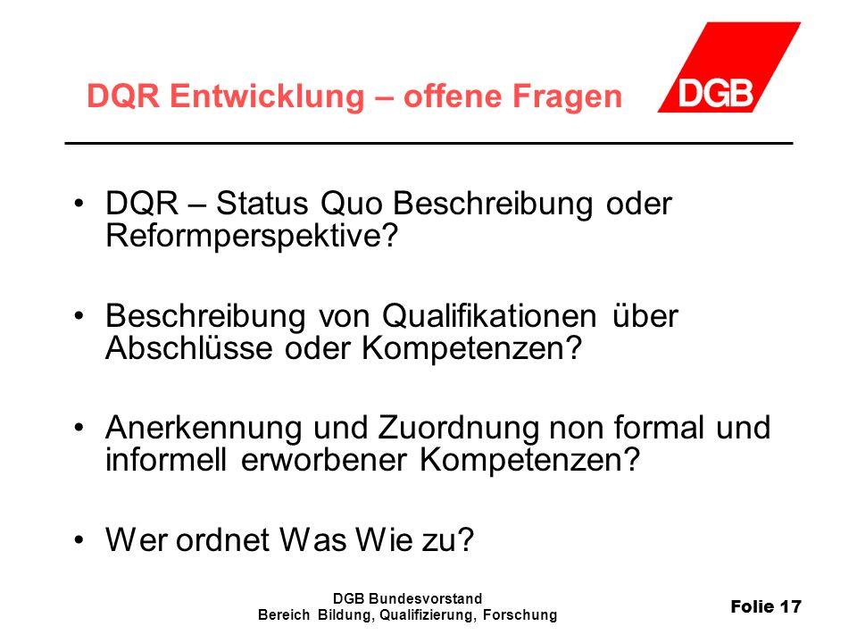DQR Entwicklung – offene Fragen