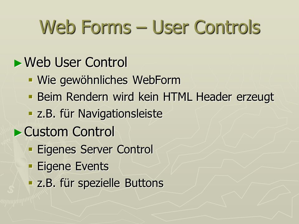 Web Forms – User Controls