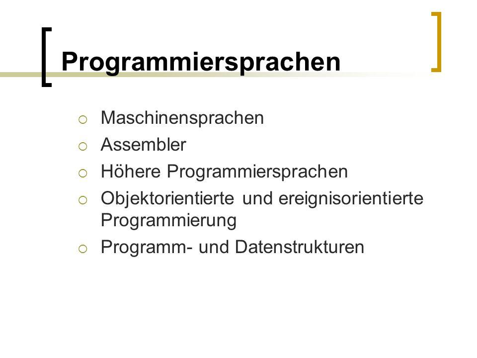 Programmiersprachen Maschinensprachen Assembler
