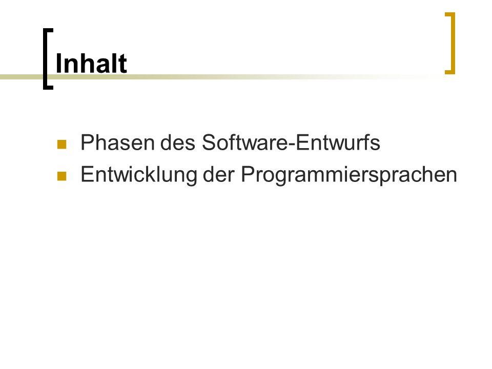 Inhalt Phasen des Software-Entwurfs