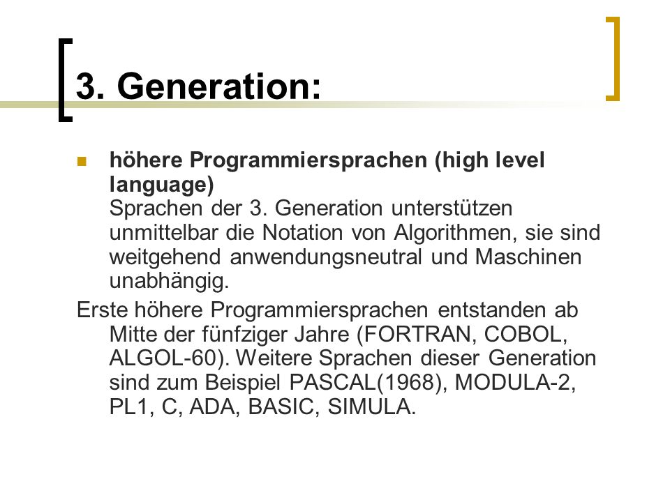 3. Generation: