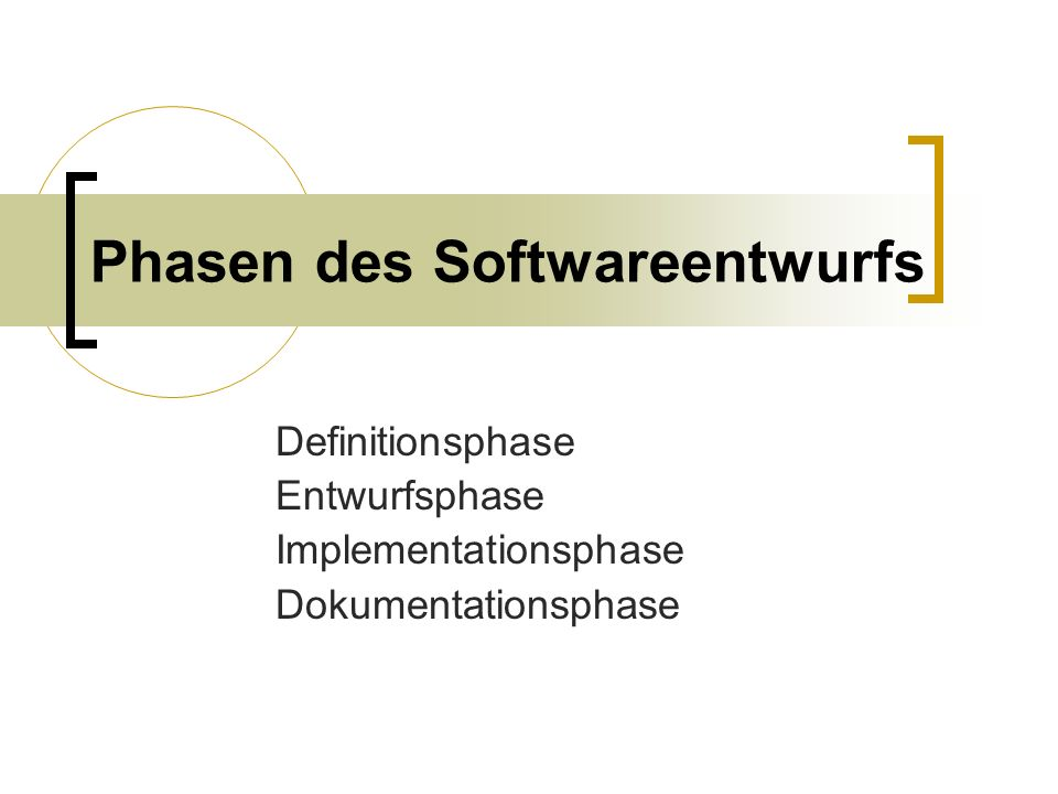 Phasen des Softwareentwurfs