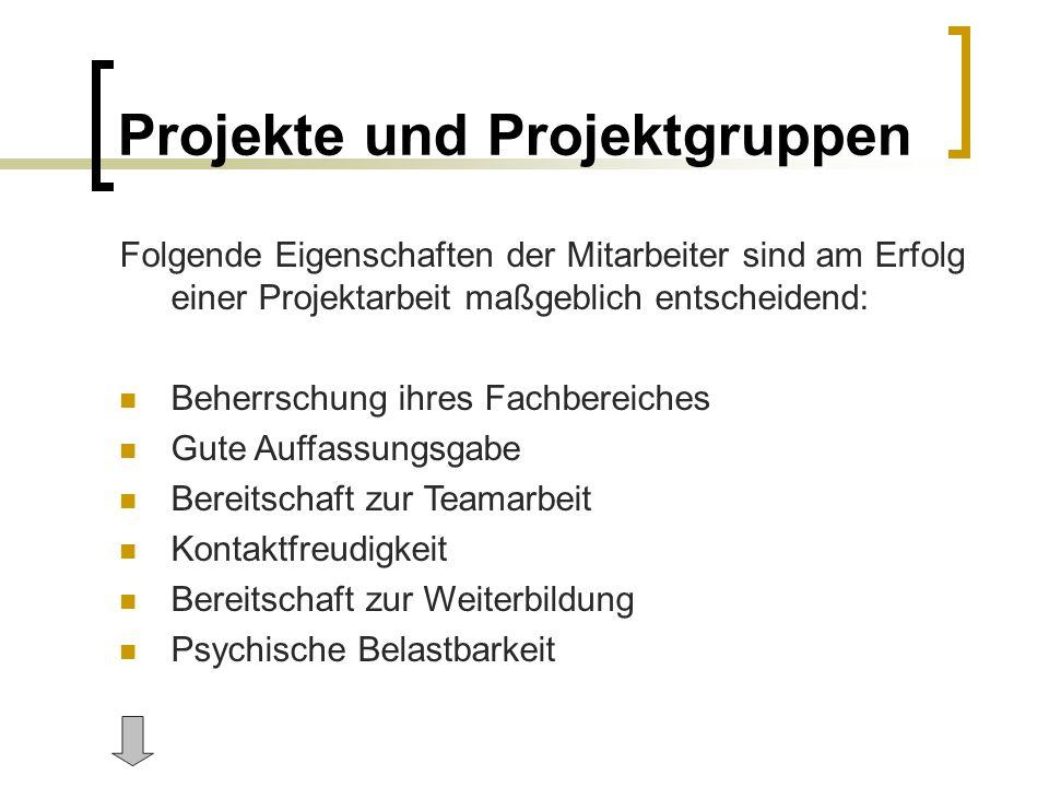 Projekte und Projektgruppen