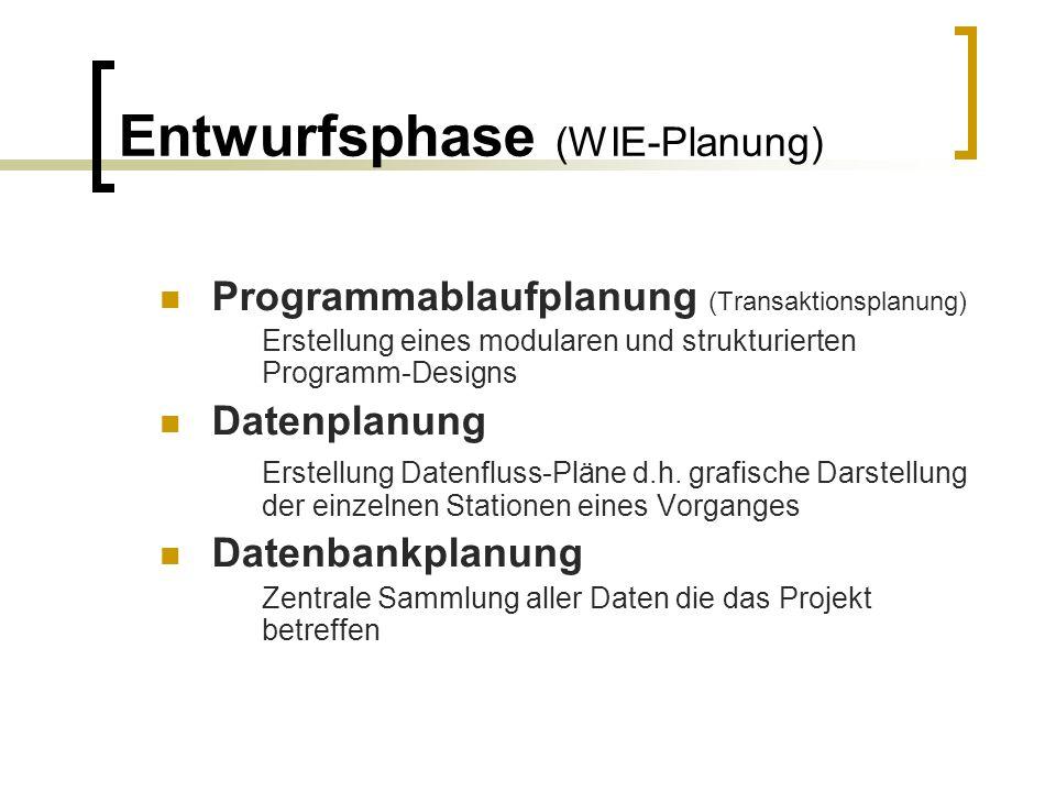 Entwurfsphase (WIE-Planung)