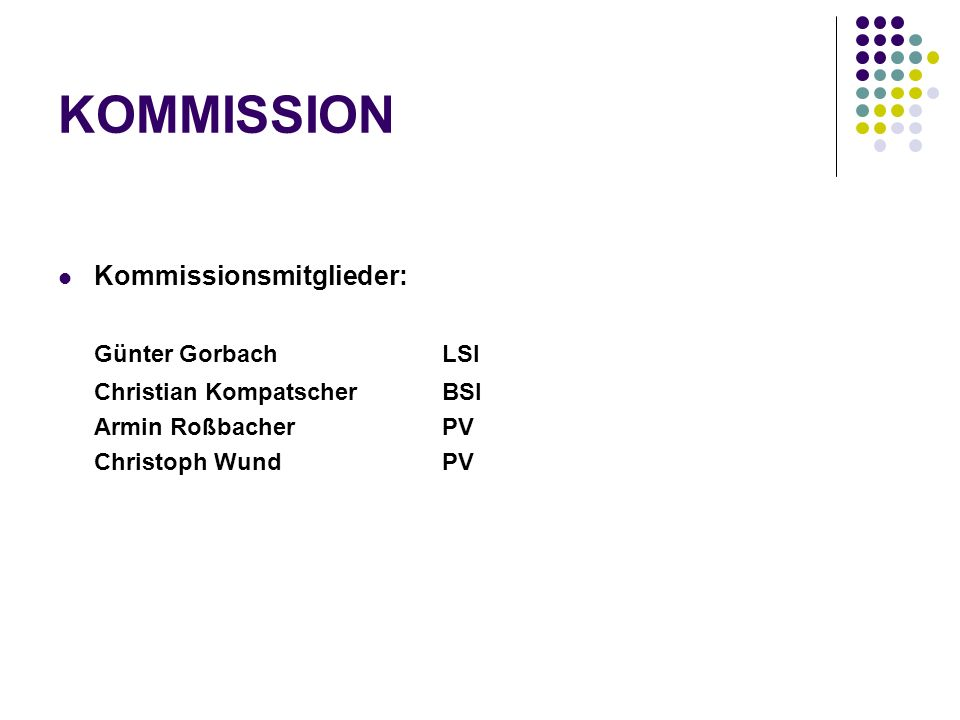 KOMMISSION Kommissionsmitglieder: Günter Gorbach LSI