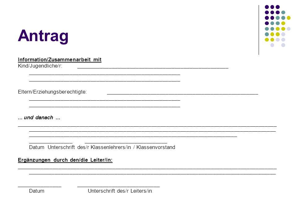Antrag Information/Zusammenarbeit mit