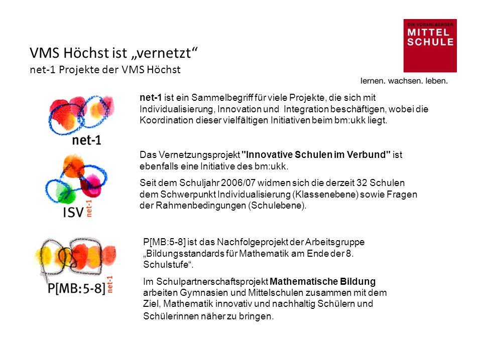 """VMS Höchst ist """"vernetzt net-1 Projekte der VMS Höchst"""