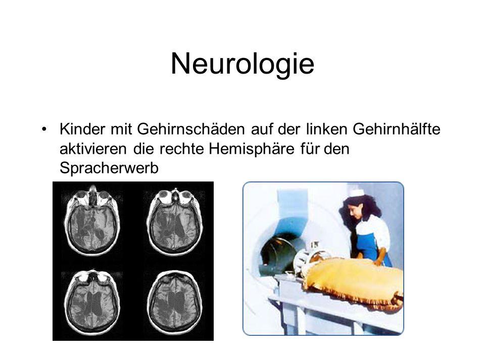 Neurologie Kinder mit Gehirnschäden auf der linken Gehirnhälfte aktivieren die rechte Hemisphäre für den Spracherwerb.
