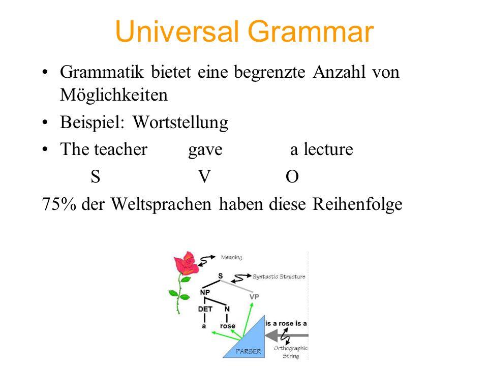 Universal Grammar Grammatik bietet eine begrenzte Anzahl von Möglichkeiten. Beispiel: Wortstellung.