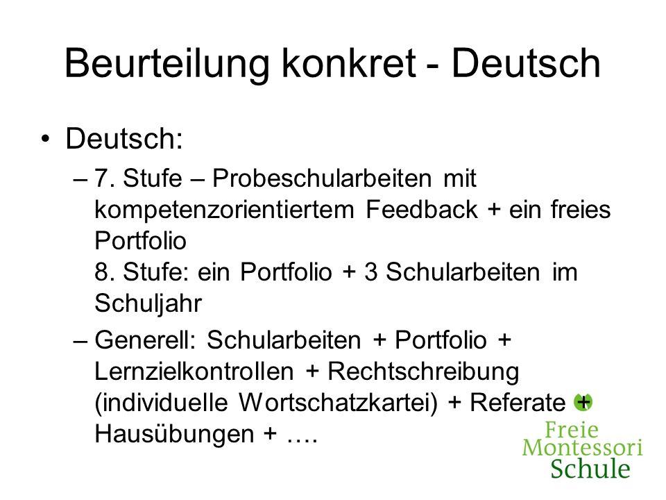 Beurteilung konkret - Deutsch