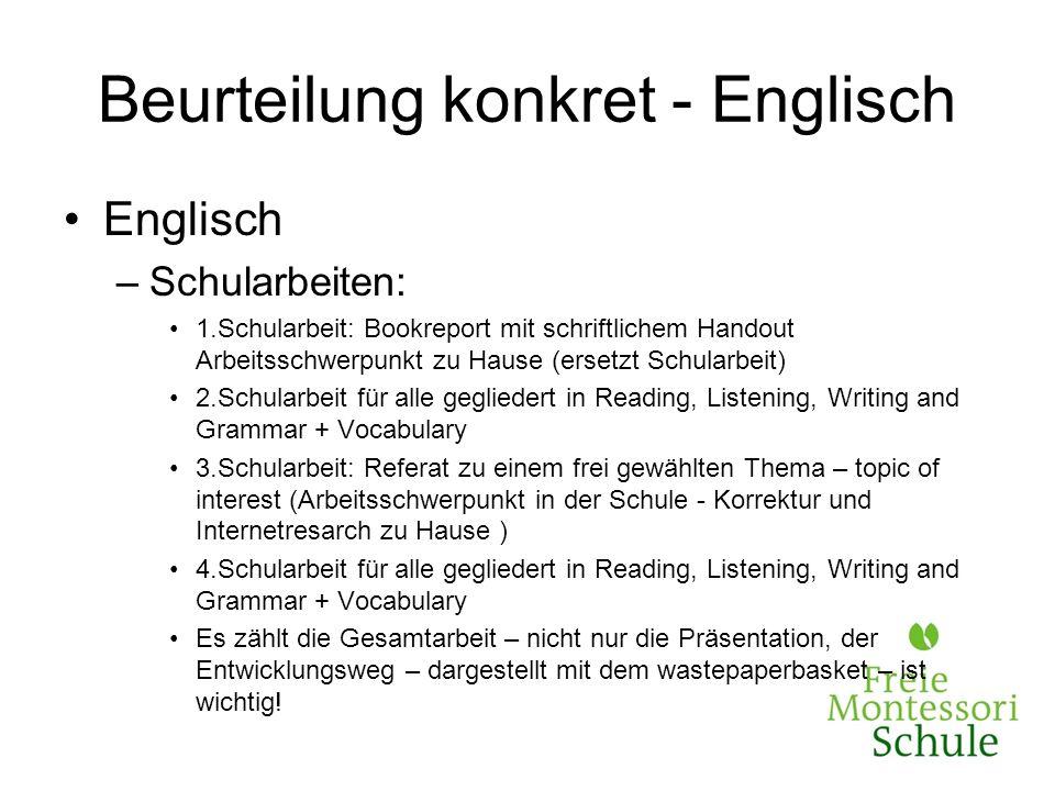 Beurteilung konkret - Englisch