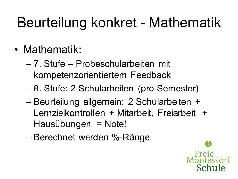 Beurteilung konkret - Mathematik