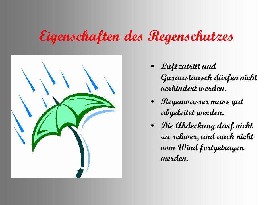 Eigenschaften des Regenschutzes