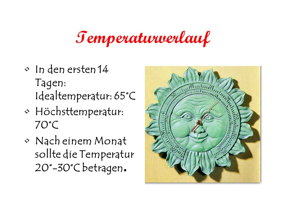 Temperaturverlauf In den ersten 14 Tagen: Idealtemperatur: 65°C