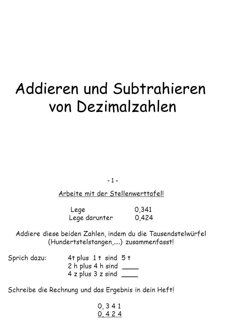 Addieren und Subtrahieren von Dezimalzahlen