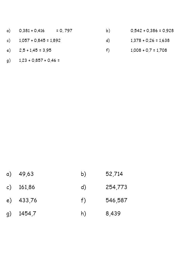 0,381 + 0,416 = 0, 797 b) 0,542 + 0,386 = 0,9281,057 + 0,845 = 1,892 d) 1,378 + 0,26 = 1,638. 2,5 + 1,45 = 3,95 f) 1,008 + 0,7 = 1,708.
