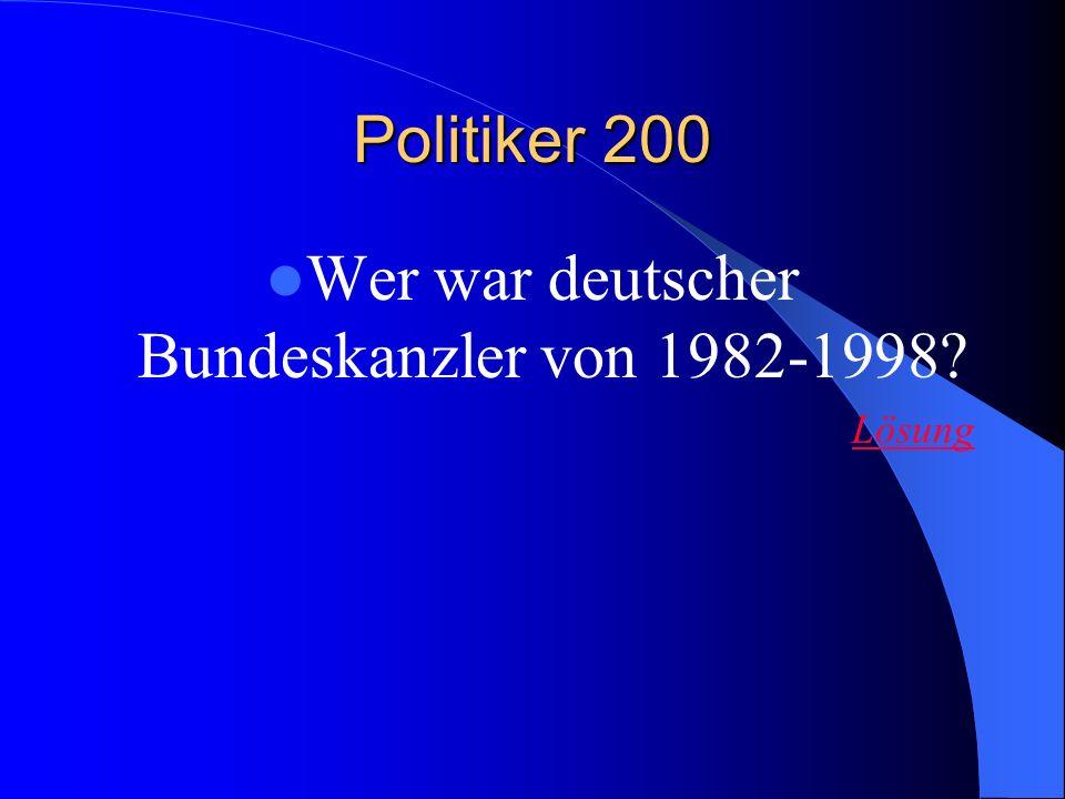 Wer war deutscher Bundeskanzler von 1982-1998