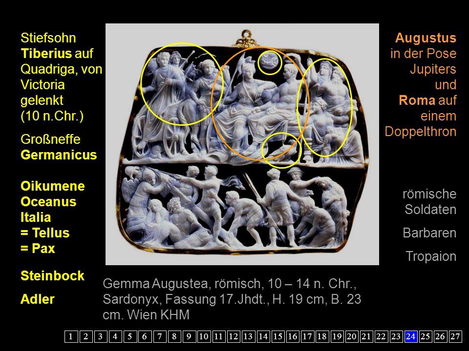 Stiefsohn Tiberius auf Quadriga, von Victoria gelenkt (10 n.Chr.)