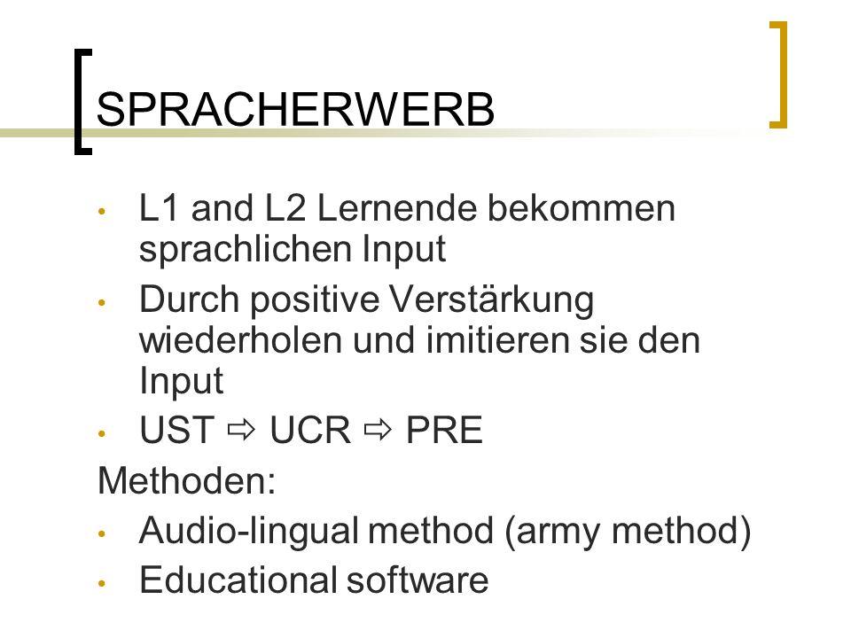 SPRACHERWERB L1 and L2 Lernende bekommen sprachlichen Input