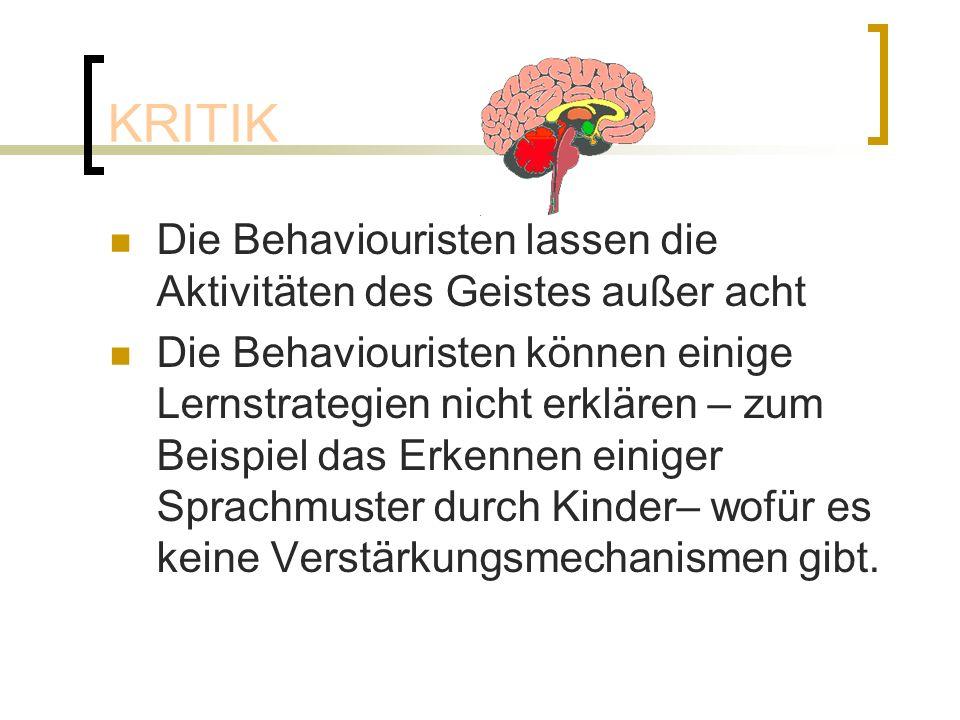 KRITIK Die Behaviouristen lassen die Aktivitäten des Geistes außer acht.