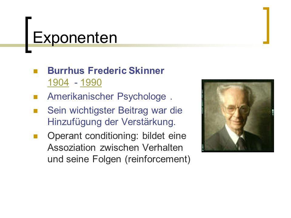 Exponenten Burrhus Frederic Skinner 1904 - 1990