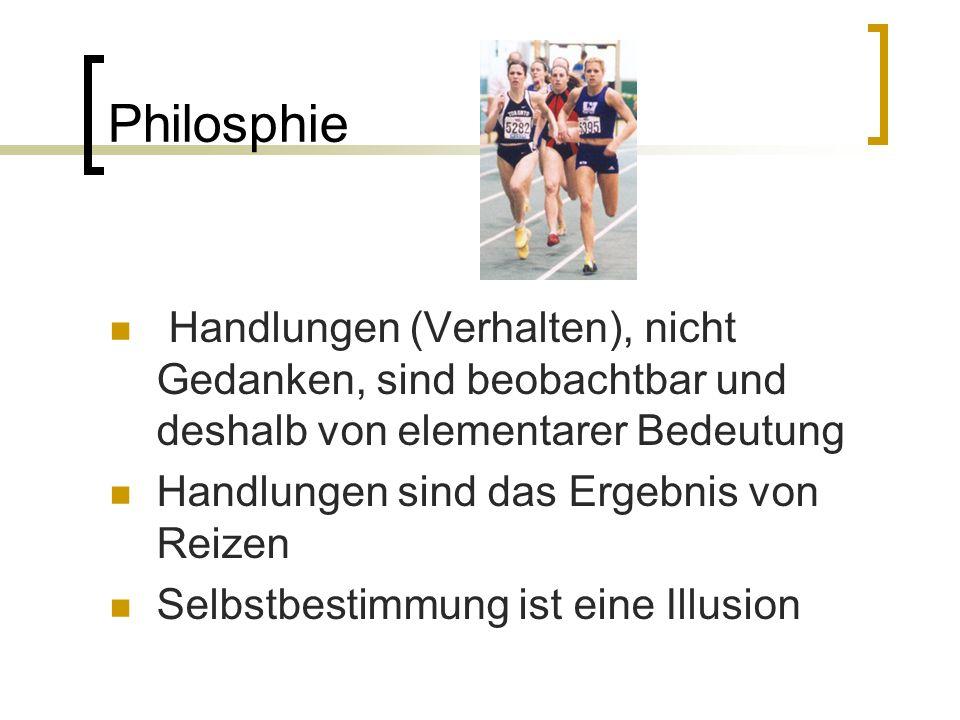 Philosphie Handlungen (Verhalten), nicht Gedanken, sind beobachtbar und deshalb von elementarer Bedeutung.